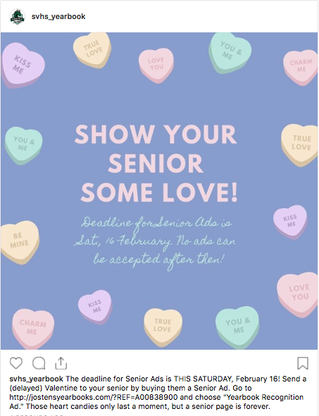 Show your senior some love! Order a Senior Ad before the deadline on Sat., 16 February, 2019.