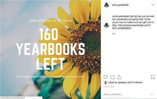1300 Students at SVHS, 160 yearbooks left