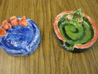Ceramic dishes made by students.